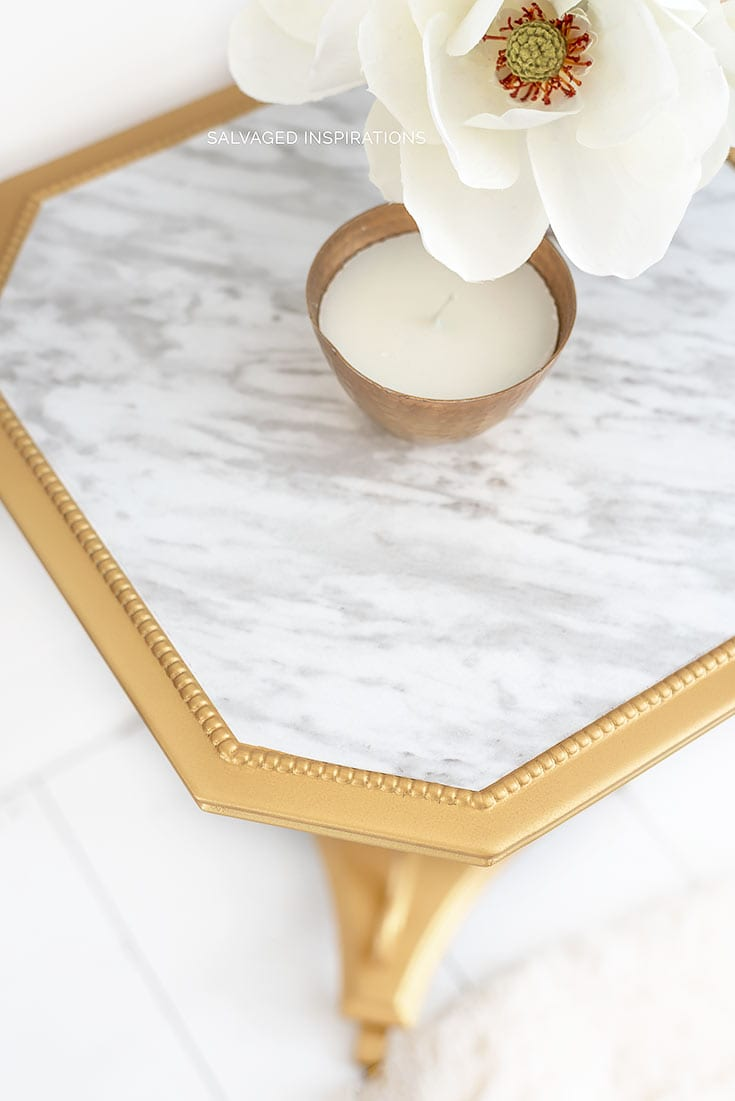 Diy Marble Table Diy Makeover Salvaged Inspirations