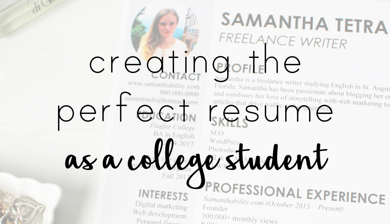 Samanthability - College Resume Experience and Design Tips - college resume tips