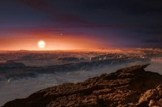 crédits/photos : M. KORNMESSER (EUROPEAN SOUTHERN OBSERVATORY/AFP) Une vue d'artiste diffusée le 24 août 2016 montre Proxima du Centaure vue depuis la surface de proxima b