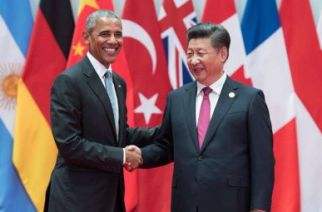 Obama et Xi Jingpin à Shangaï, lors du G20, septembre 2016, annoncent la ratification de l'accord de la COP21 © AFP