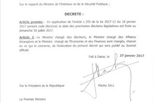 Les élections législatives se tiendront officiellement le 02 juillet 2017, le président Macky Sall vient de signer le décret
