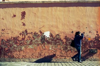 wallwithwoman walking