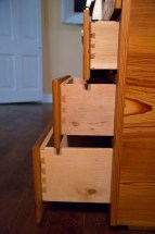 dovetails in maple drawers