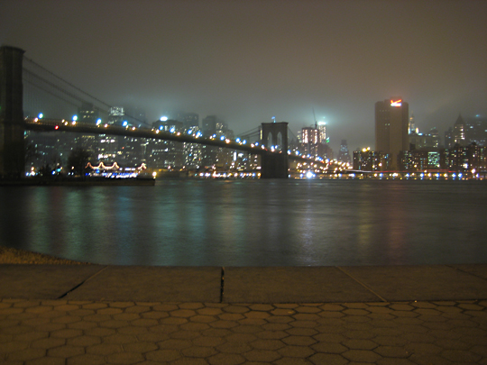 Unlit Brooklyn Bridge