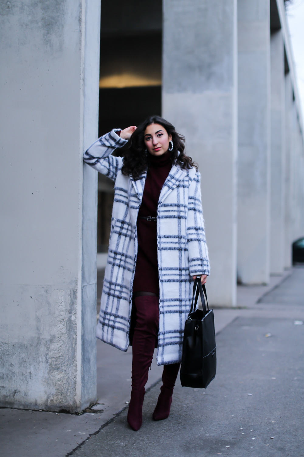 Oversize Mantel White Checked Coat Outfit Fashion Blog Berlin