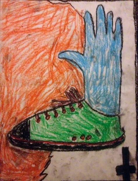 """Fifteen Alligators."" August 22nd, 2012. Oil pastels on scrap paper. 9x12""."