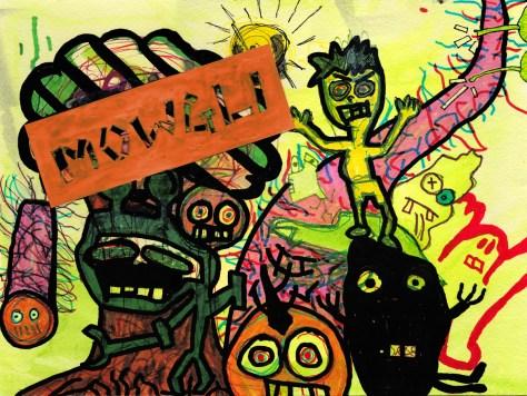 """Mowgli."" 8/20/13. Watercolor, marker, pen, acrylic, collage. 9x12""."