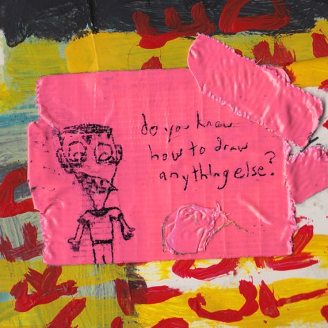 """""""Weird Kids With Bad Teeth."""" 2/27/13. Acrylic paint, pen, duct tape. 4x4""""."""