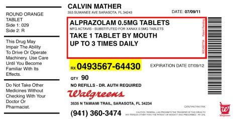 """""""Calvin's Alprazolam."""" 7/3/13. Graphic design. 4x2""""."""