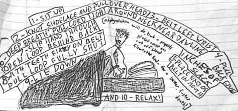 """Chrissy Fit."" 12/11/12. Pen on scrap. 8½x4""."