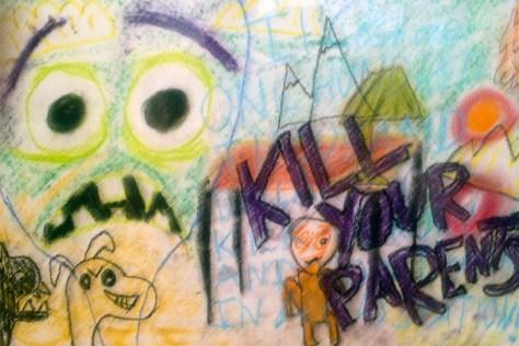 """""""Kill Your Parents."""" 4/5/13. Oil pastel. 12x18""""."""