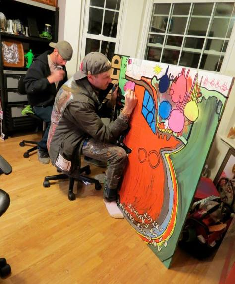 Me 'n' Mikey Twohands, workin' on some art. Photo by Rosaly Natera.