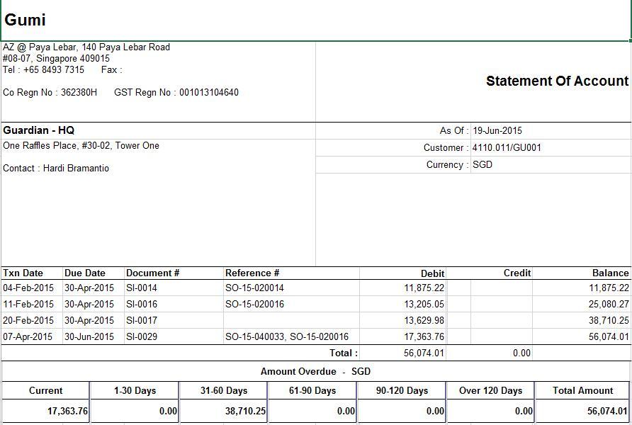 Mobile Accounts - Statement Of Account Report - Samooha User