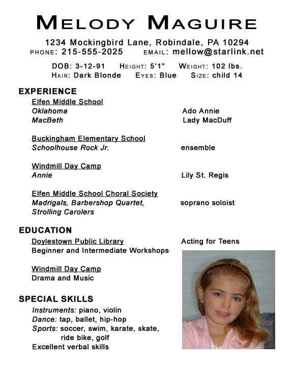 child dance audition resume template