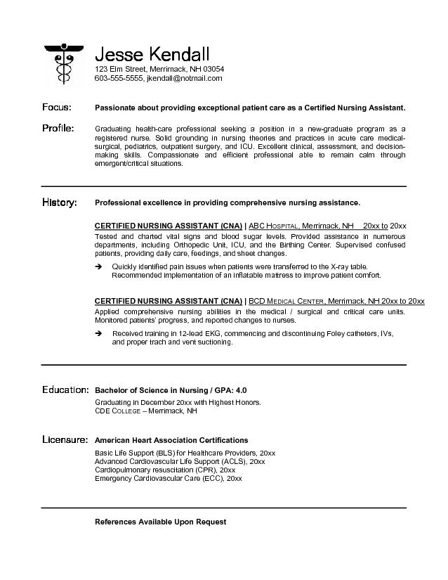 nursing student resume Easy-And-Simple-CNA-Nursing-Resume-Sample - nursing student resume sample