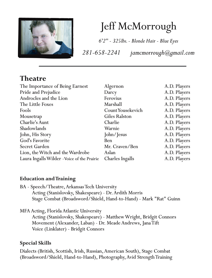 acting resume template theatre resume technical template res - special skills on acting resume