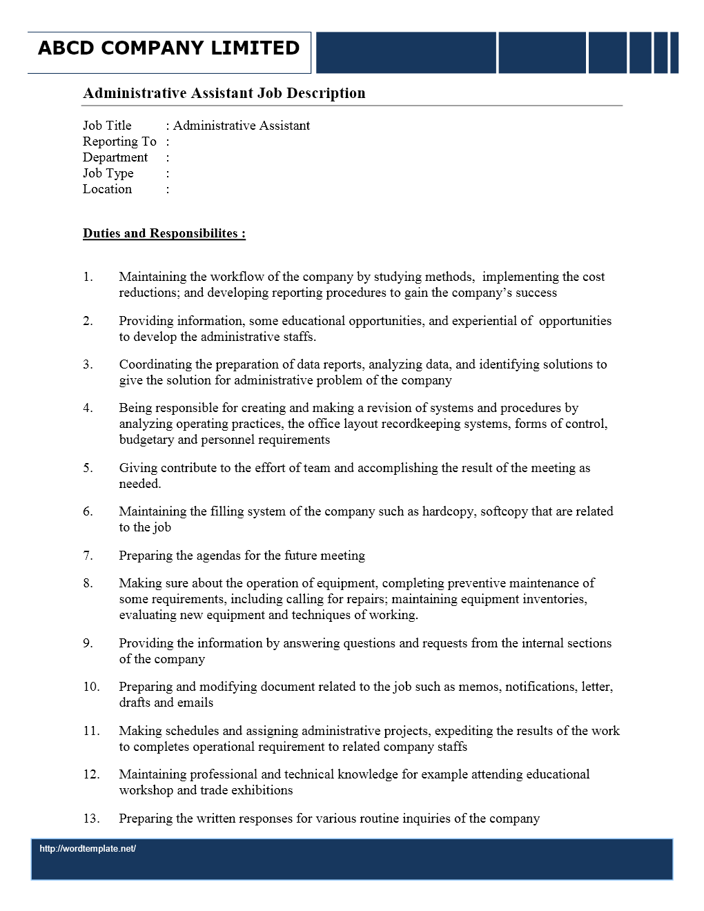 Administrative Assistant Job Description Sample | Cover Letter And ...