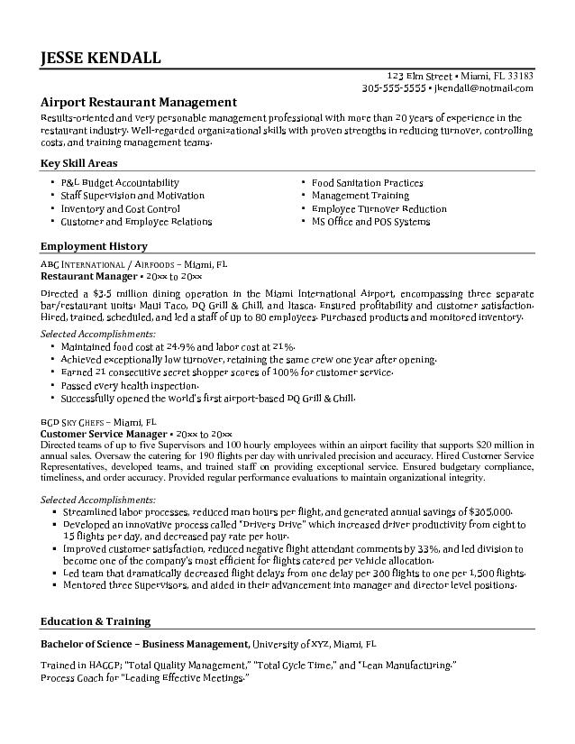 Best Airport Restaurant manager unit with employment career - restaurant skills resume