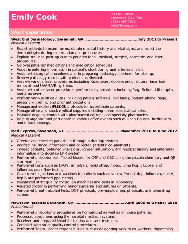 Chronological Medical Assistant Resume medical assistant duties