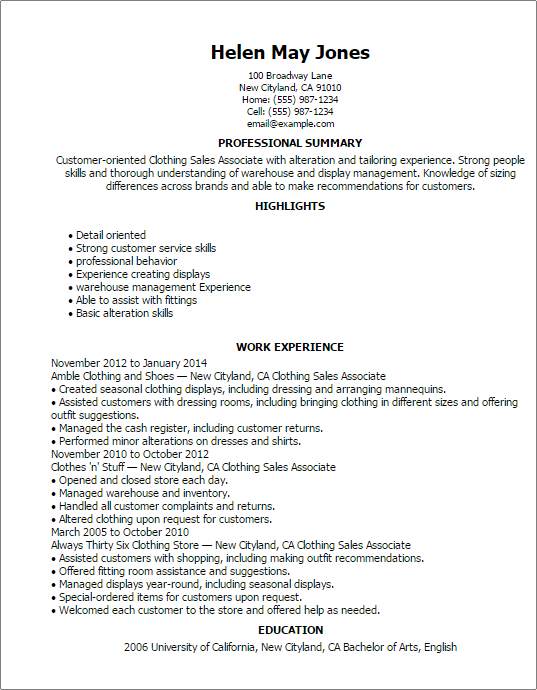 resume objective for sales associate example