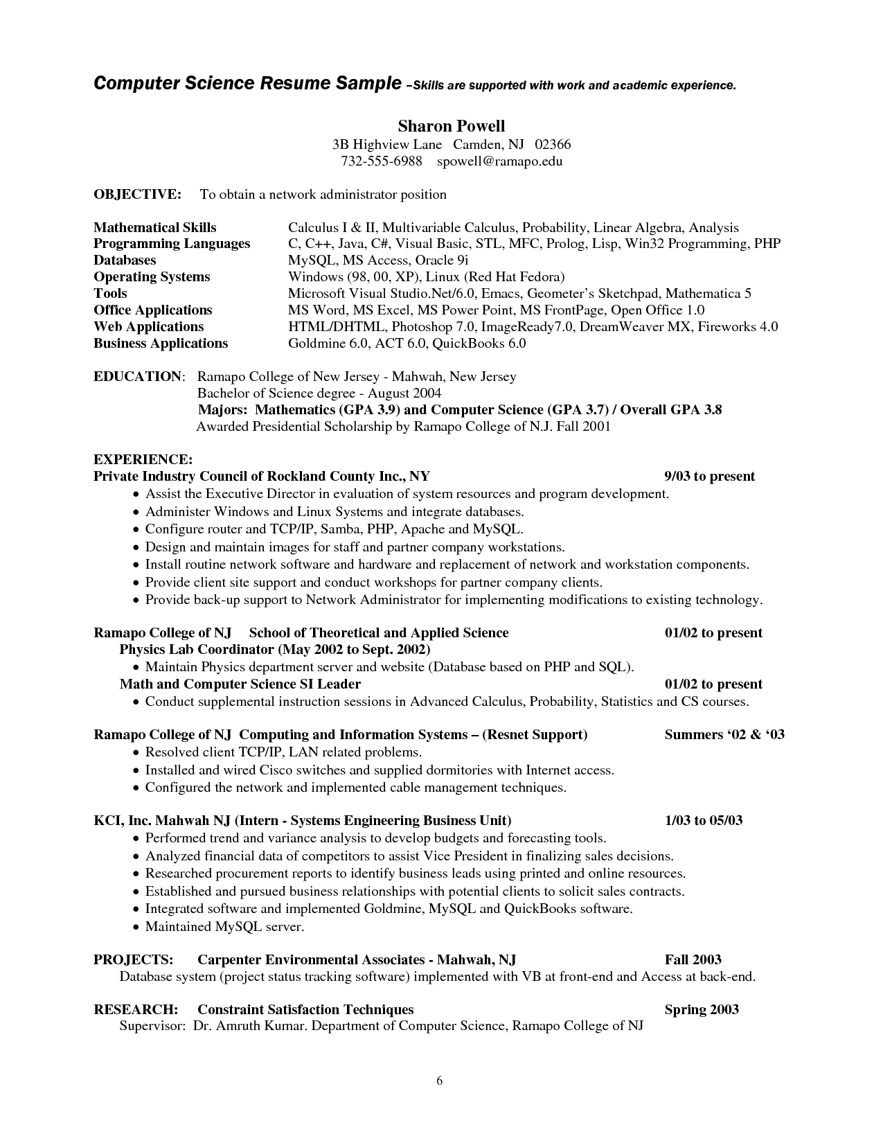 computer science student resume no experience template