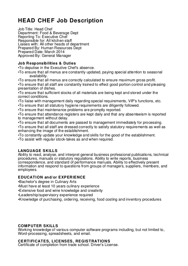HEAD CHEF job description job title head chef department food - resume job titles