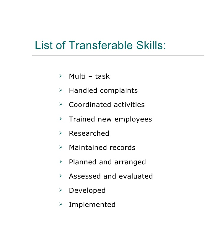List of Transferable Skills List Of Skills For Resume for - resume transferable skills