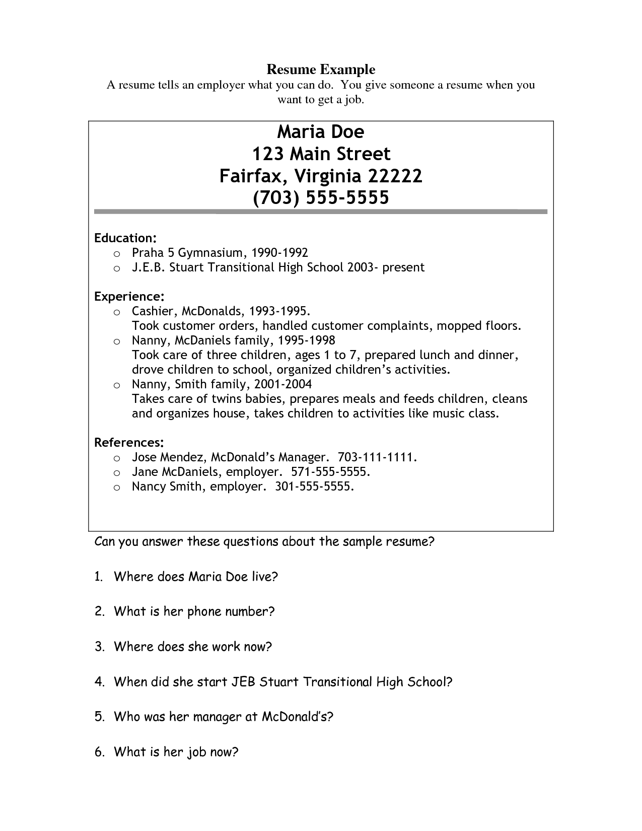 resume for service crew in mcdonalds