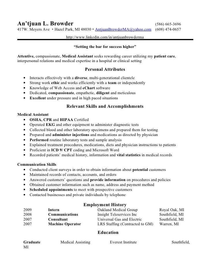 Medical Resume Medical Assistant Resume Skills Medical assistant - medical resume example
