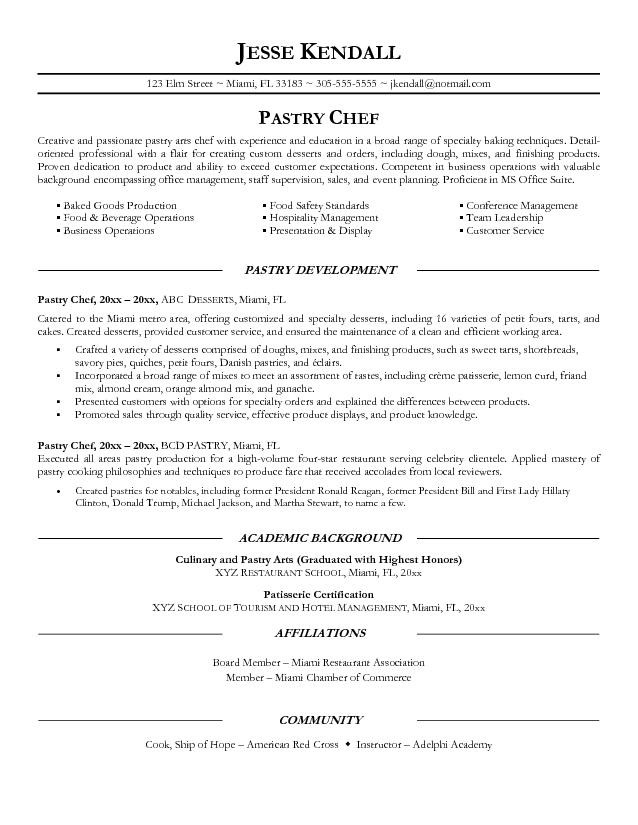 Pastry Chef Resume Objective Examples academic background of pastry - it resume objective examples