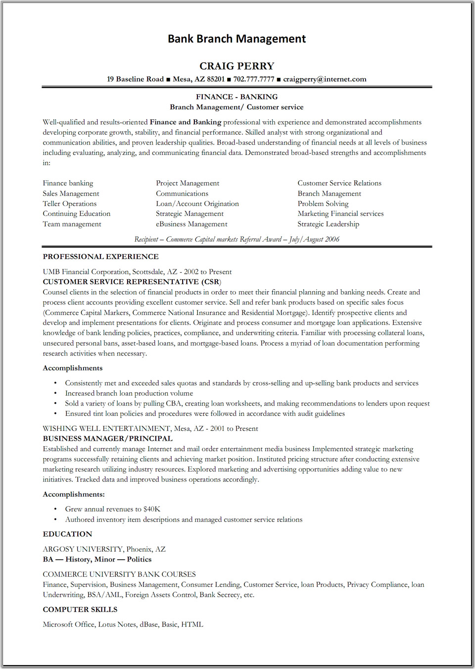 sample resume retail banking operations professional resumes