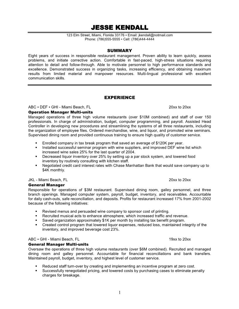 multi unit restaurant manager resume sample