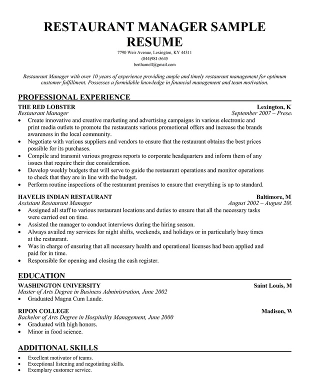 Restaurant Manager Resume Template Business and restaurant manager