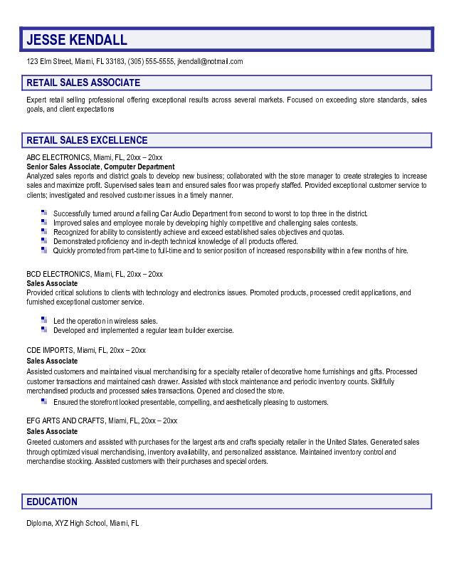 sample resume for retail sales associate - Onwebioinnovate
