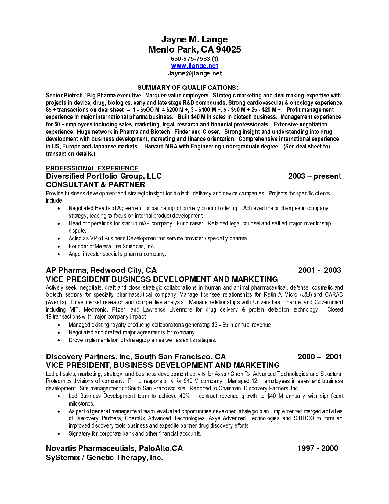sales resume summary examples
