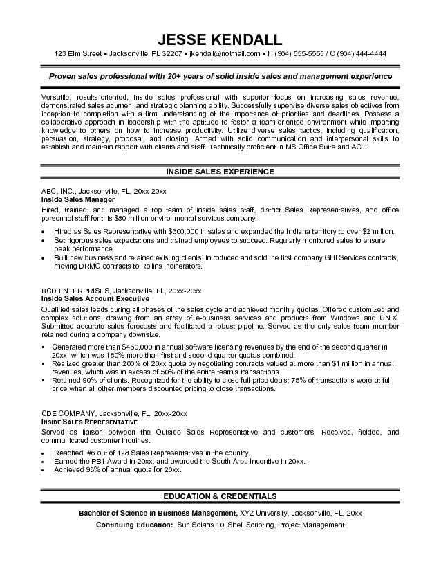 inside sales resumes - Kordurmoorddiner - inside sales representative resume sample