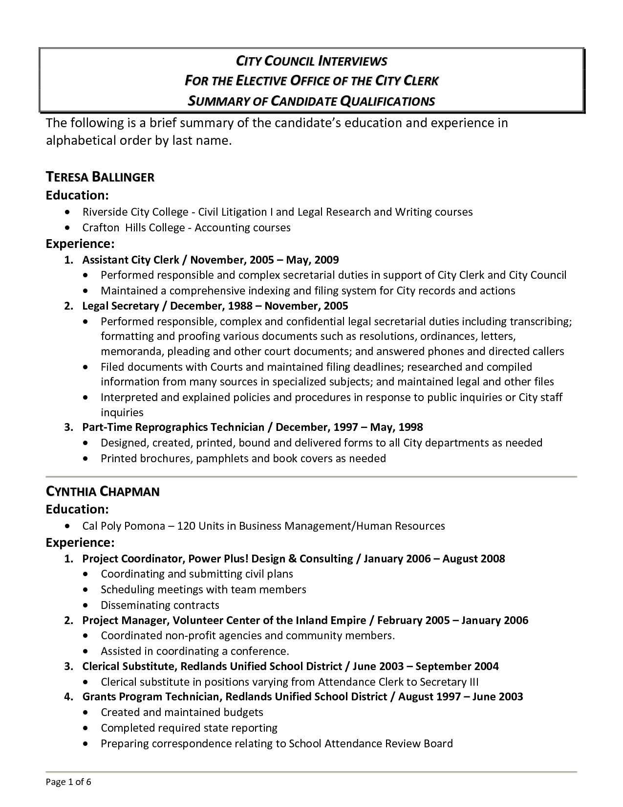Qualification Summary Resume  Qualifications Summary Resume