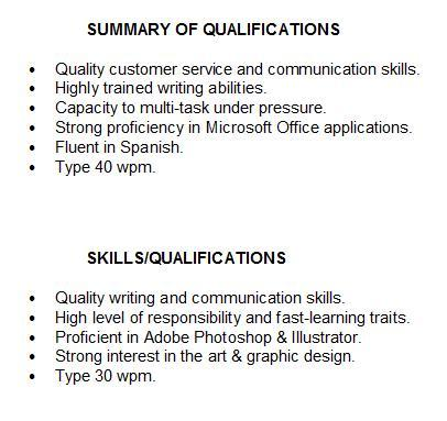 Summary of Qualifications For Students or summary of qualifications