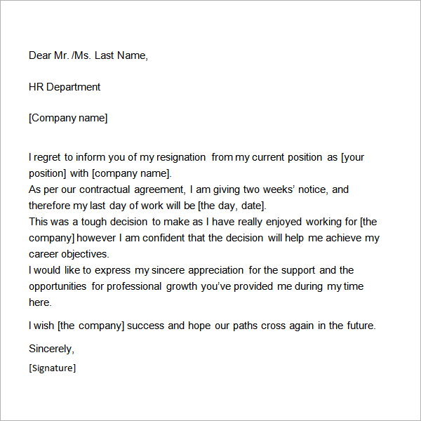 Two Weeks Notice Letter Template two-weeks-notice-template - two weeks notice letter