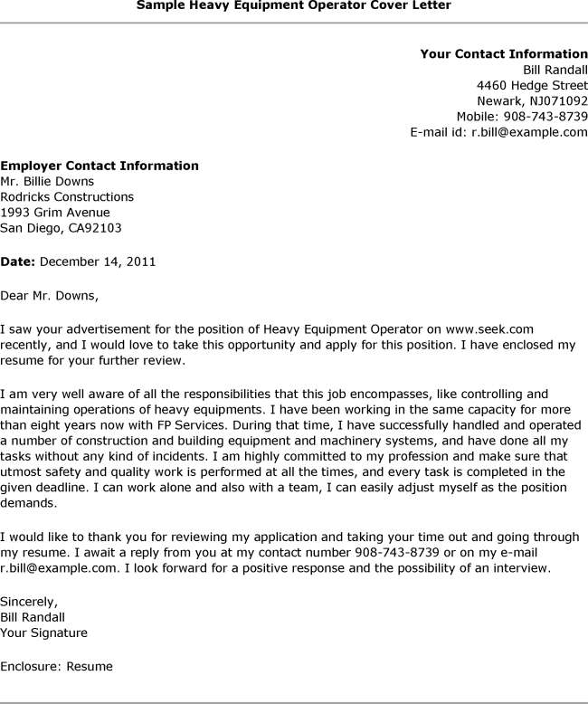 What is and How to make Heavy Equipment Operator Cover Letter sample