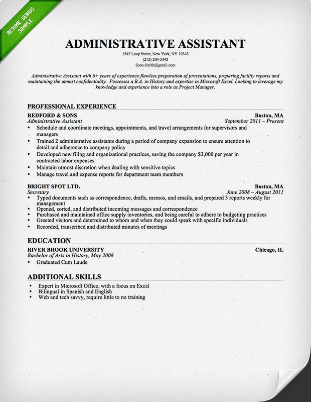 administrative assistant template resume - Onwebioinnovate