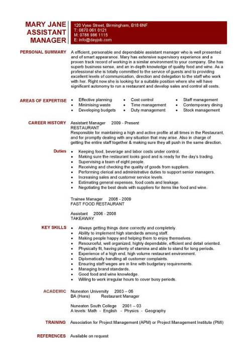 resume keywords operations manager