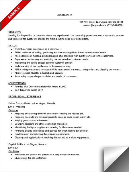 16 Free Bartender Resume Templates - SampleBusinessResume - free bartender resume templates