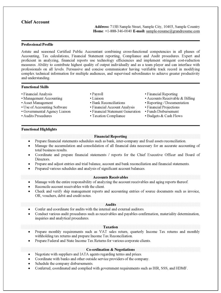 Resume Examples For Accounting Jobs Cv For Accountant Job - Payroll Auditor Sample Resume