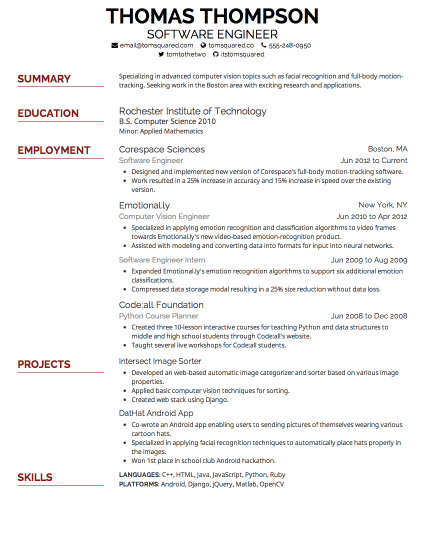 resume font and size 2019