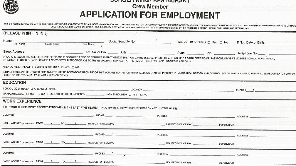 burger king job applications form online - SampleBusinessResume - printable job application form