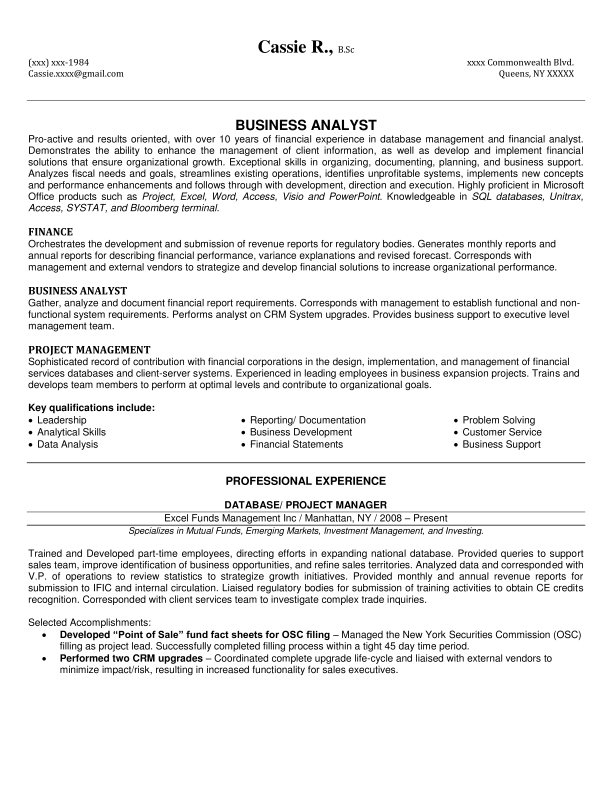 Example Of Business Analyst Resume - Examples of Resumes