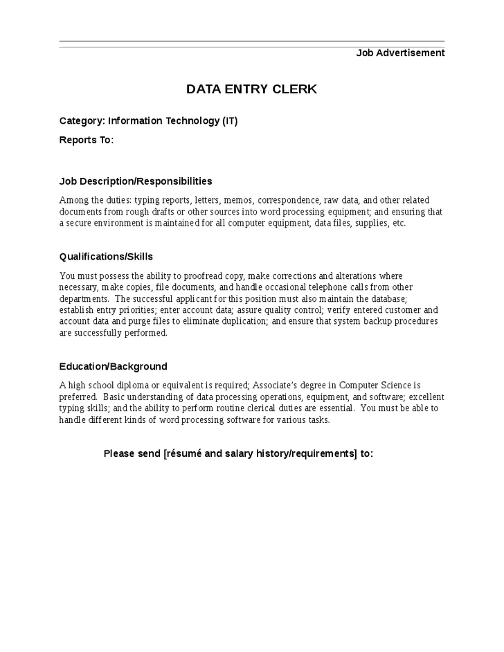 clerk job description resume