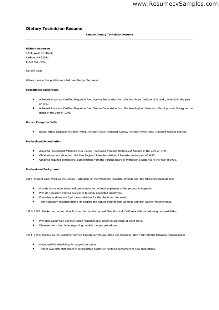 sample resume for dietary aide - Ozilalmanoof