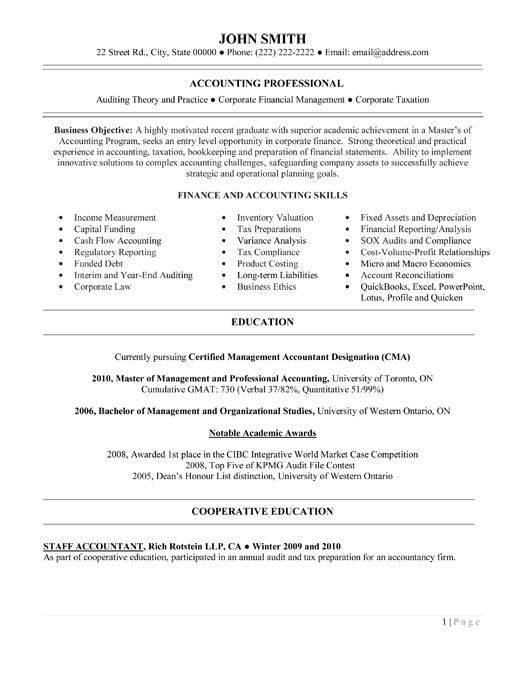 sample entry level accounting resume - Minimfagency - resume for entry level